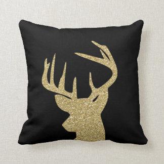 Coussin Scintillement et carreau noir 16x16 d'or de cerfs