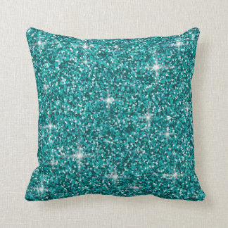 Coussin Scintillement iridescent turquoise
