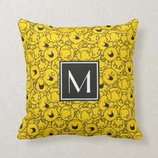 Coussin Série de monogramme jaune du motif | de sourires