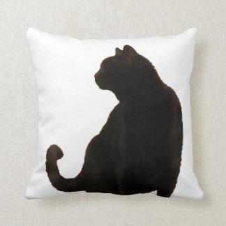 Coussin Silhouette de chat noir de Halloween