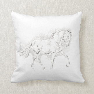 Coussin Simple carreau croquis de cheval de schéma