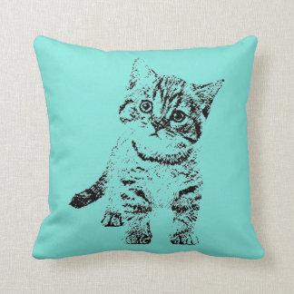 Coussin Stylo graphique noir de chat sur le bleu turquoise
