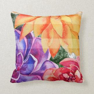 Coussin Succulents colorés vibrants vifs audacieux