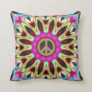 Coussin super de signe de paix de hippie de Bright