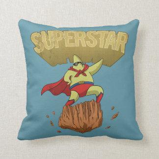Coussin Super héros d'étoile de jaune de superstar sur une
