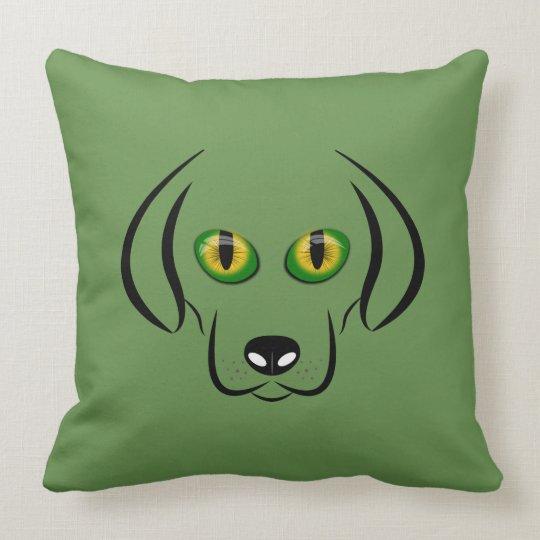 Coussin Tête de chien aux yeux de chat