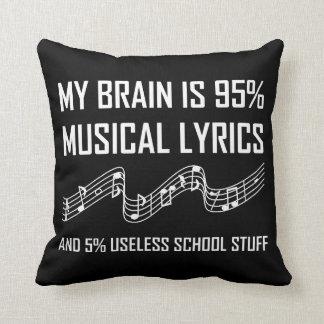 Coussin Textes musicaux de cerveau drôles