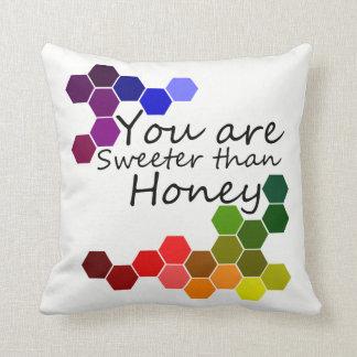Coussin Thème de miel avec des mots positifs