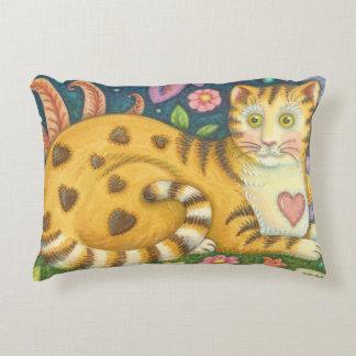 Coussin tigré de chat d'art populaire de rayures