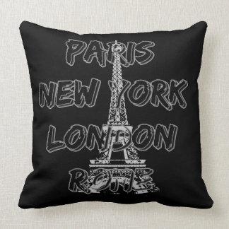 Coussin tissu Paris-Nyc-London-Rome