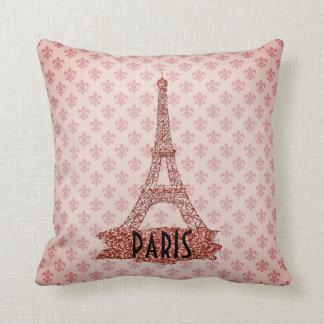 Coussin Tour Eiffel rose Paris Fleur De Lis Pattern