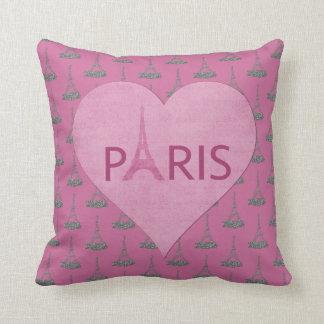 Coussin Tours Eiffel modèlent le coeur rose de | Paris