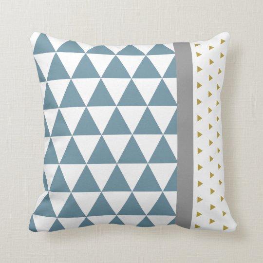 Coussin Triangles Bleu/Jaune/Gris