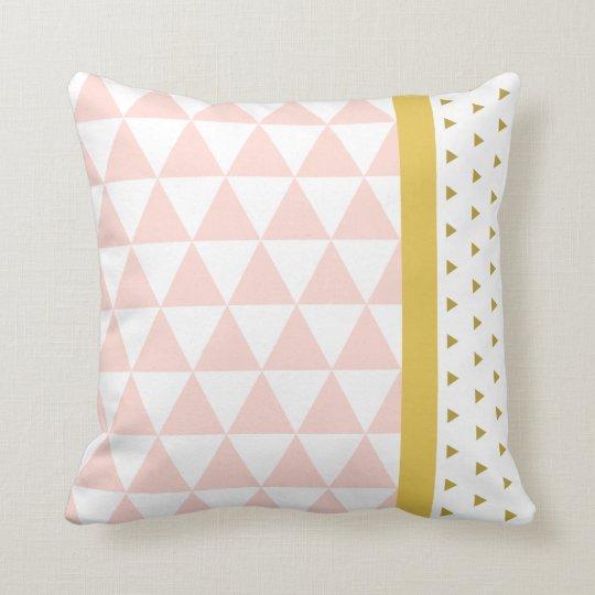 Coussin Triangles Rose/Jaune/Dore