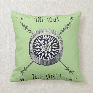 Coussin Trouvez votre boussole et flèches de nord vrai