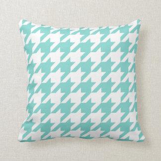 Coussin Turquoise/Aqua, grand motif blanc de pied-de-poule