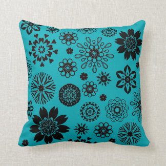 Coussin Turquoise blue cushion with rosace flowers