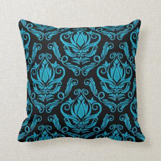 Coussin Turquoise élégante et copie noire de damassé