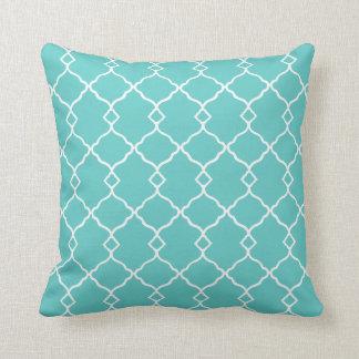 Coussin Turquoise-Géométrique-Lombaire-Carré