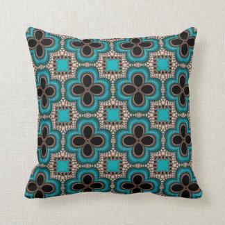 Coussin Type floral carreau de turquoise de conception de