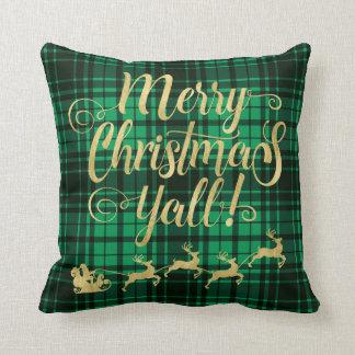 Coussin Typographie de plaid de vert de Joyeux Noël