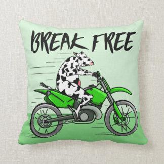 Coussin Vache montant une motocyclette