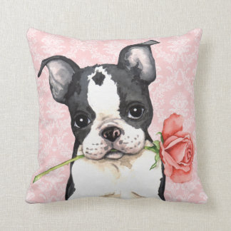 Coussin Valentine Boston rose Terrier
