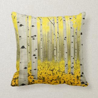 Coussin Verger d'Aspen dans le carreau de jaune d'automne