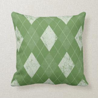 Coussin Vert à motifs de losanges monochrome affligé