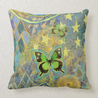 Coussin vert de rêve de papillon
