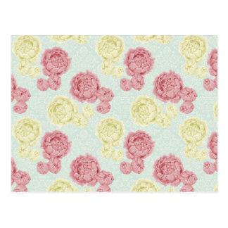 Coussin vintage chic minable floral et de dentelle carte postale