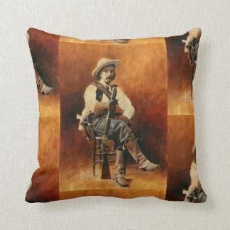 Coussin vintage de jet de carré de cowboy