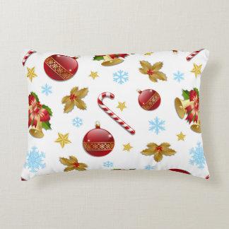 Coussins Décoratifs Boules rouges et d'or de Noël, houx de Noël