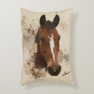 Coussins Décoratifs Couleur pour aquarelle de cheval de Brown