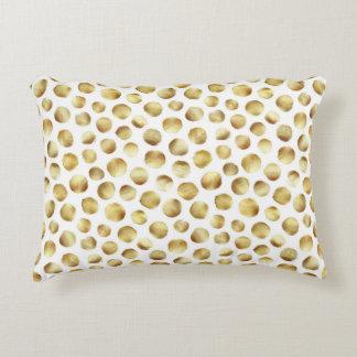 Coussins Décoratifs Grand motif de point de polka d'aquarelle d'or