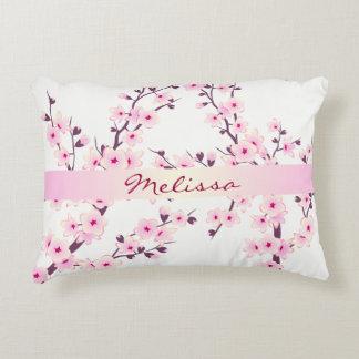 Coussins Décoratifs Monogramme floral de fleurs de cerisier