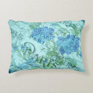 Coussins Décoratifs Motif floral bleu vintage de cachet de la poste de