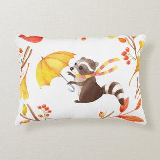 Coussins Décoratifs Petit raton laveur mignon avec le parapluie en