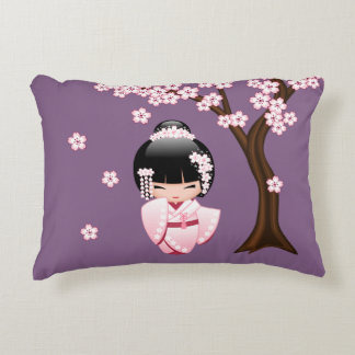 Coussins Décoratifs Poupée blanche de Kokeshi de kimono - fille de