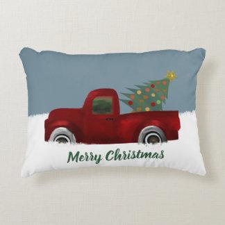 Coussins Décoratifs Rétro arbre vintage rouge de camion et de Noël