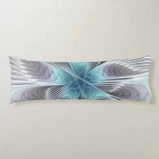 Coussins Longs Fleur bleue moderne d'art de fractale de blanc