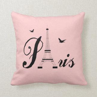 Coussins noirs roses d'image de Paris de Tour