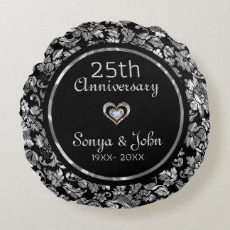 Coussins Ronds 25ème anniversaire de mariage d'argent noir et
