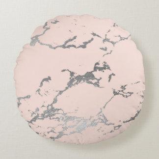 Coussins Ronds À la mode pâlissez - rose et marbre d'argent