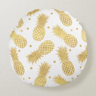 Coussins Ronds Ananas étincelants d'or