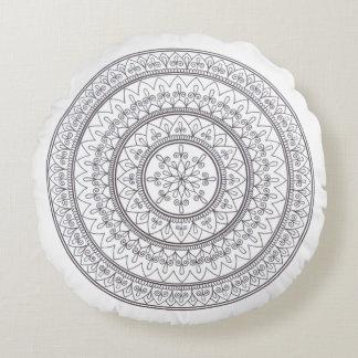 Coussins Ronds Art complexe tiré par la main de mandala pour