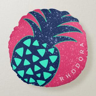 Coussins Ronds Art d'ananas avec le nom