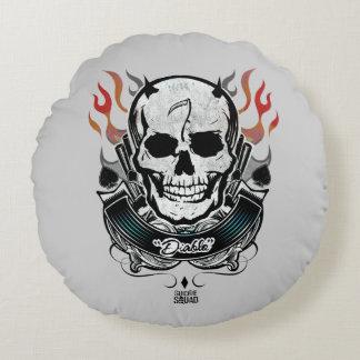 Coussins Ronds Art de tatouage de crâne et de flammes du peloton