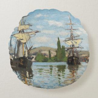 Coussins Ronds Bateaux de Claude Monet | montant sur la Seine à