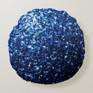 Coussins Ronds Belles étincelles bleu-foncé de scintillement